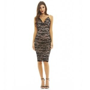 NWT AX Paris Lace Strappy Bodycon Midi Dress